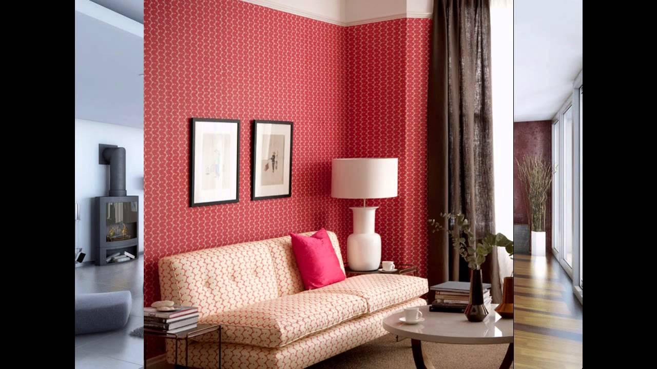 Red Wallpaper decor ideas for living room - YouTube