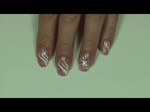Side French, Pink Glitter Manicure (Prom Nails) - YouTube