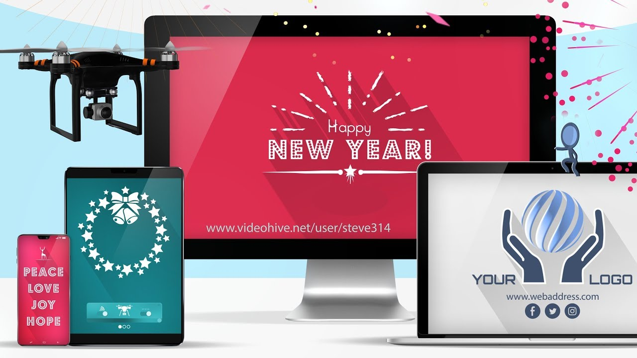 Responsive Holiday & New Year Greetings! - After Effects template project