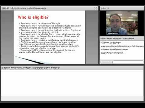 2016 -17 Fulbright Graduate Student Program Video Lectures Web Chat