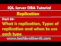 SQL Server DBA Tutorial 99-What is replication, Types of replication and when to use each type