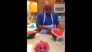 The Easiest, Fastest Way To Cut A Watermelon Slice it up and put it in a bag.