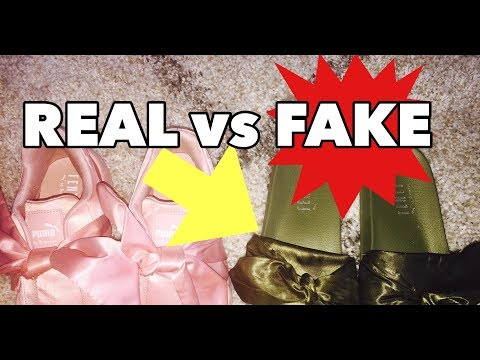 cce407d9ecc HOW TO SPOT FAKE RIHANNA PUMA FENTY SLIDES | REAL vs FAKE! - YouTube