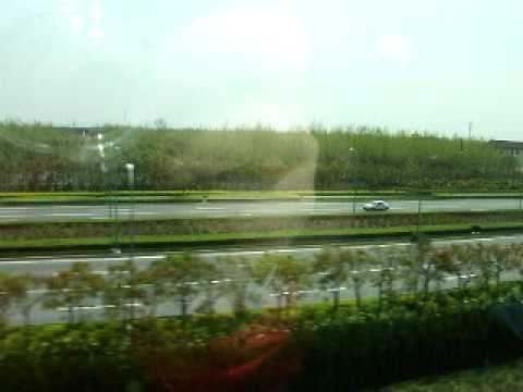China - Looking out the windows of Shanghai's Maglev Train