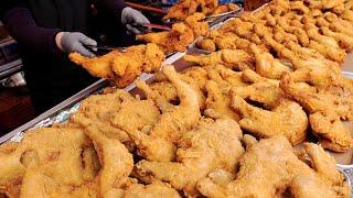 Хрустящий корейский рынок, жареный цыпленок, куриные крылышки и ножки | Корейская уличная еда