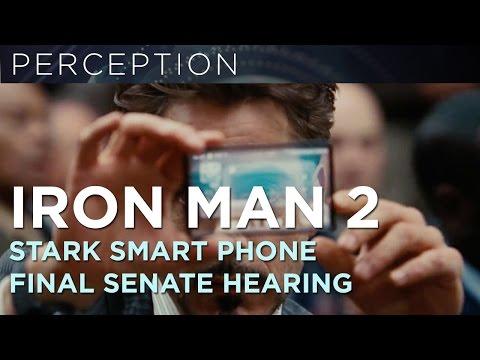 Iron Man 2-Tony Stark Glass Smartphone Courtroom Scene Final Composite