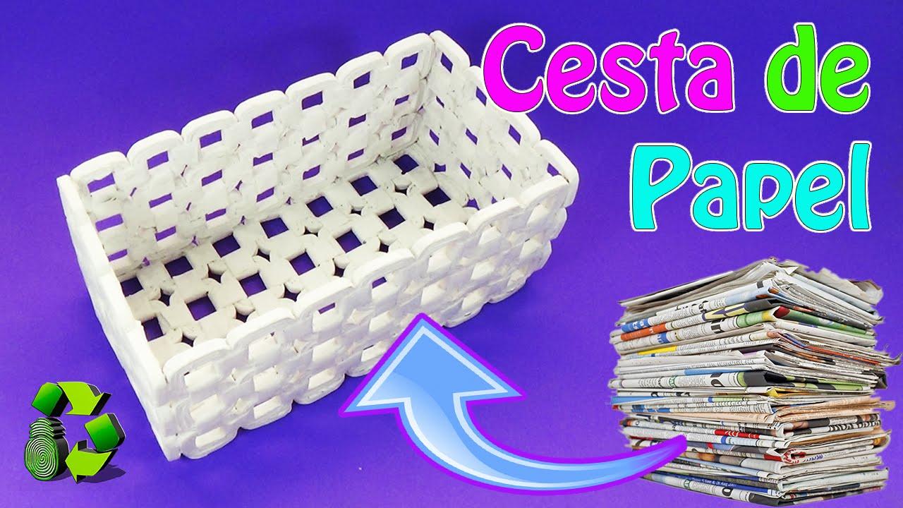 Manualidades cesta de papel peri dico reciclaje - Manualidades en papel ...