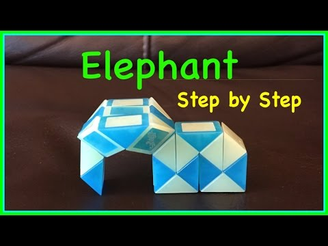 Rubik's Twist Or Smiggle Snake Puzzle Tutorial: How To Make An Elephant Shape SLOW Step By Step