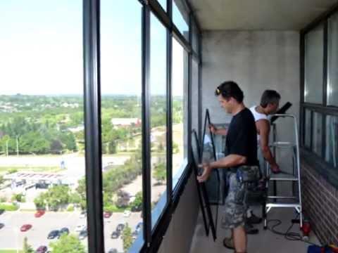 Installing a balcony enclosure in Toronto Ontario Canada ...