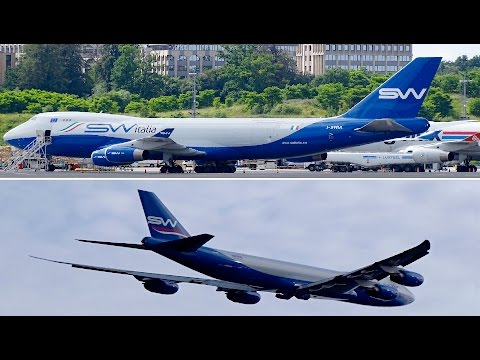 Overhead Departures | SW Italia B747-4F and Silk Way West Airlines B747-8F | Luxembourg Airport