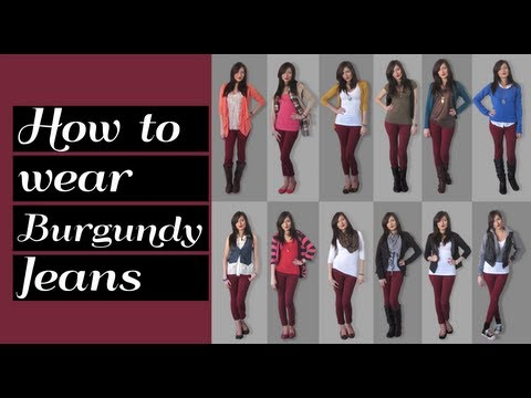 Lookbook: How to wear burgundy jeans 12 outfit ideas
