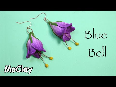 how to make a campanula flower blue bell polymer clay earrings tutorial
