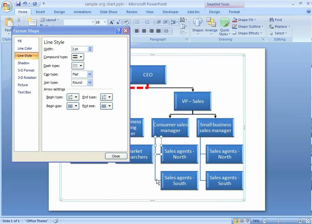 Office 2007 Demo Format Lines In Your Smartart Graphic Youtube