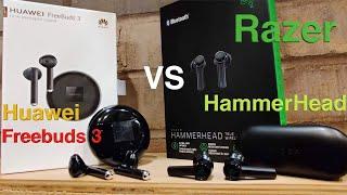 "Huawei FreeBuds 3 VS Razor HammerHead ""Battle of Earbuds with a Stem"""