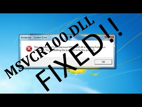 HOW TO FIX MSVCR100.DLL ERROR (WORKS FOR WINDOWS 7/8/8.1/10)
