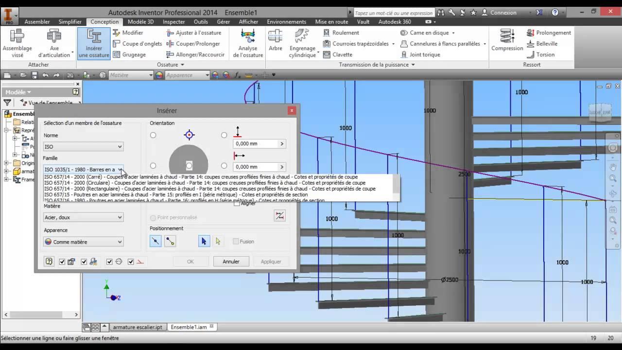 Extrêmement tuto-25- Inventor 2014 Création escalier colimaçon --partie 2  CL44