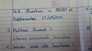 Gk questions in AFCAT 02 Supplementary 17/9/2017