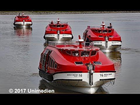 WORLD DREAM 世界夢號 | Arrival of tender boats at shipyard MEYER WERFT in Papenburg | 4K-Quality-Video