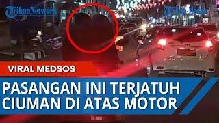 VIDEO Detik-detik Pasangan Muda Ciuman Di Atas Sepeda Motor Terjatuh, Saat Tengah Asyik Bermesraan