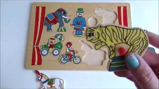 Fun puzzle circus for kids learning for toddlers and pre school kids wooden puzzle with circus carto
