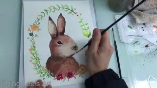 Ching Lee's Art 水彩教學 如何畫小兔子(快鏡)水彩 うさぎ 兎 早回し 入門 基礎 水彩画 how to draw a rabbit