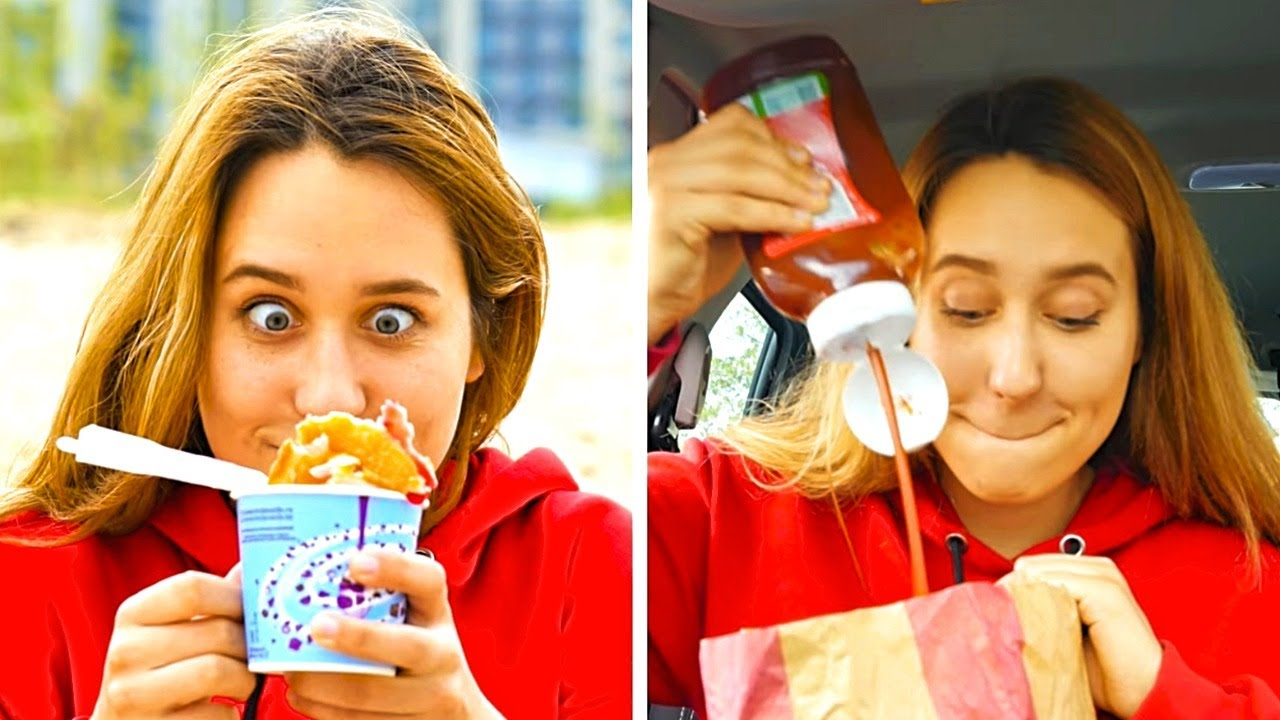 ME AFTER DIETING FOR A DAY || Fast Food Hacks, Food To Go Hacks, Food Hacks