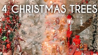How to Decorate 4 Christmas Trees 4 ways