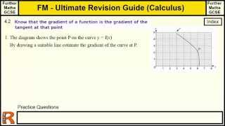 Calculus Gradient Functions and Tangents of curves Ultimate revision guide for Further maths GCSE