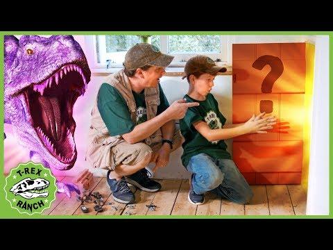Giant Dinosaurs & LB Finds a Secret Door! Kids Dinosaur Adventure with T-Rex & Pretend Play Toys