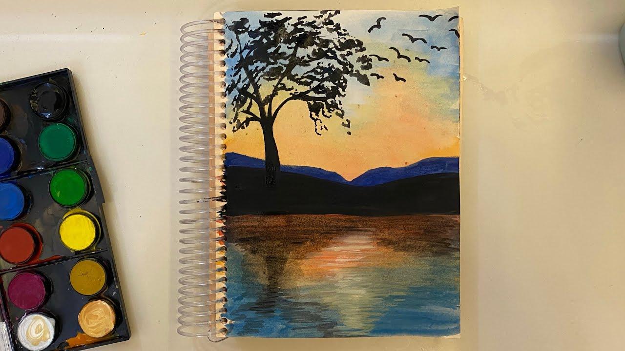 Suluboya ile kolay orman ve günbatımı manzarası çizimi | Suluboyayagiriş #18