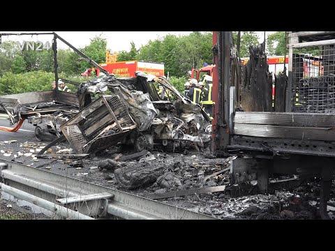 28.05.2019 - VN24 - (Teil1) Zwei LKW Gehen Nach Unfall Auf A1 Bei Schwerte In Flammen Auf