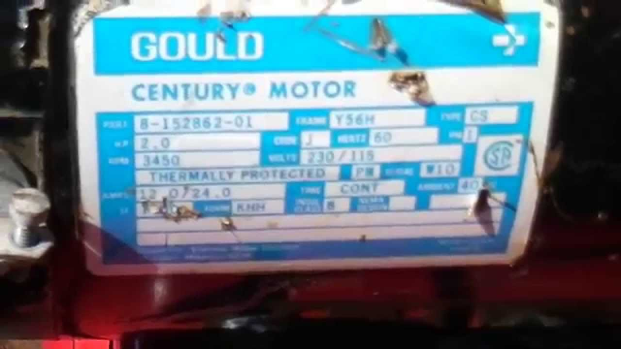 Century Electric Motor Wiring Diagram Trailer 6 Pin Best To Wire Gould 230v Use Less Amps Youtube