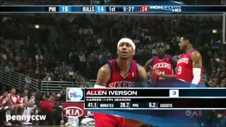 Repeat youtube video Allen Iverson vs Derrick Rose the Bulls 09/10 NBA *AI's Last NBA game
