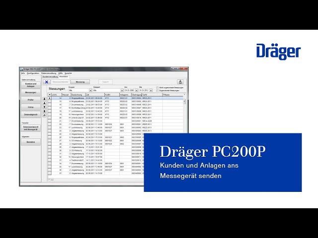 Kunden und Anlagen ans Messegerät senden Dräger PC200P