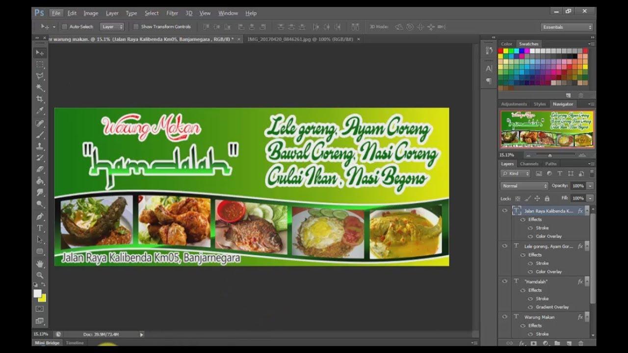tutorial desain banner warung makanan di photoshop - YouTube