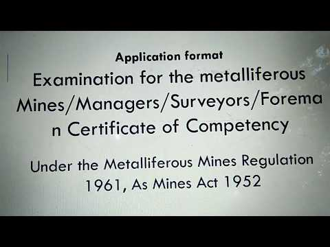 Application Format Examination For Metallifeous Mines Manager, Surveyor, Foreman Certificate