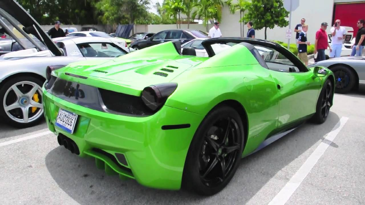Green Ferrari 458 Spider Youtube