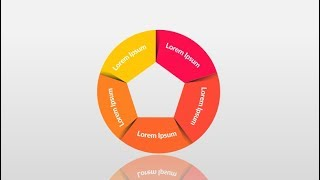 5 step circle in Microsoft PowerPoint. PPT tricks.