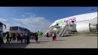 Flughafen Rostock Laage   Empfang Der Boeing 747