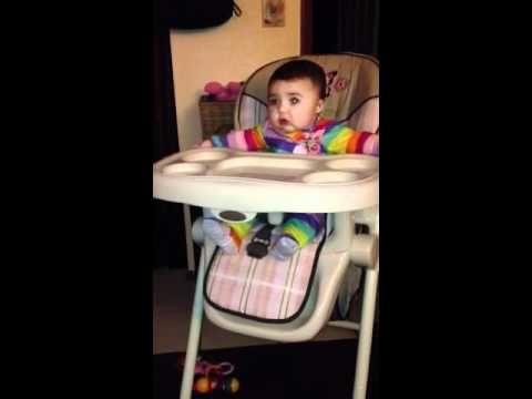 3-20-12 hailey dropping her toys off high chair – 6 months