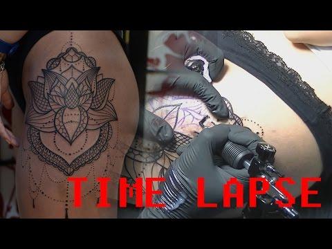 Thigh Lotus - Tattoo Time Lapse