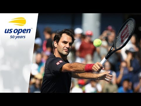 Roger Federer Practices At The 2018 US Open