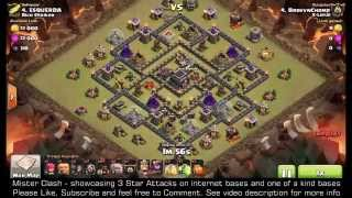3 Star Diamond Tesla Moat Hybrid TH9 GoHo, clash of clans clan war