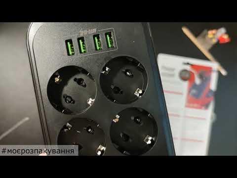 Мережевий фільтр-подовжувач ColorWay 6 розеток/4 USB 2 м Black (CW-CHE64B)
