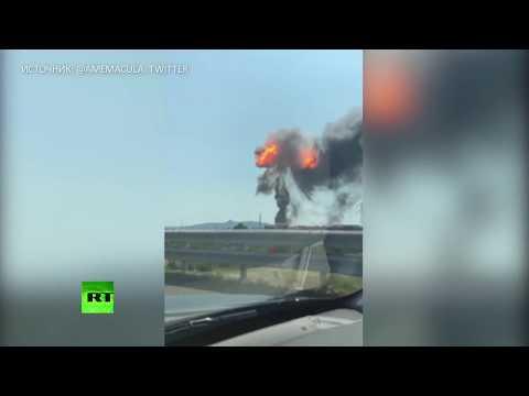 Взрыв на трассе около аэропорта Болоньи попал на видео