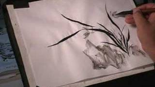 How to Draw Orchid in Sumi-e Chinese Brush Painting