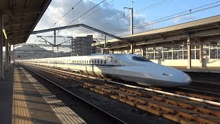[山陽新幹線] 夕方の三原駅を通過する各種新幹線13本