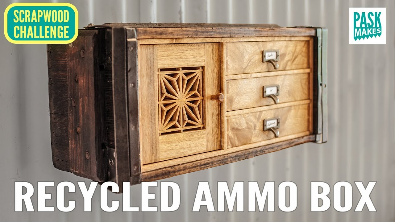 Eberhart Salle De Bain wall cabinet from recycled ammo box - scrapwood challenge ep26