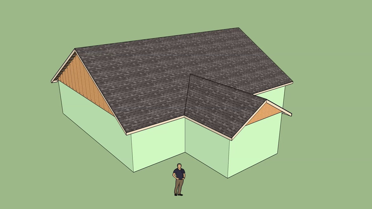 Roof With Valley Truss Set Youtube