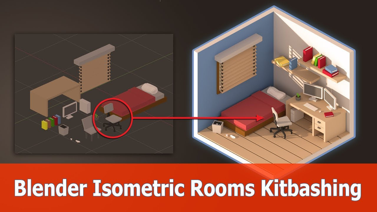 Blender Isometric Design Low Poly Room Kitbashing Youtube